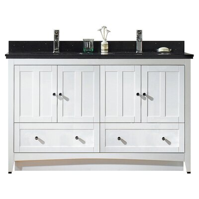 Tiffany 59.5 Bathroom Vanity Base Finish: White, Top Finish: Black Galaxy, Faucet Mount: Single