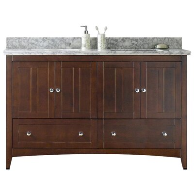 Nixon Floor Mount 59 Single Bathroom Vanity Set Base Finish: Walnut, Sink Finish: Biscuit, Faucet Mount: 4 Centers