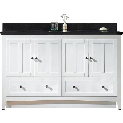 59.5 Single Bathroom Vanity Set Base Finish: White, Top Finish: Black Galaxy, Faucet Mount: 8 Center
