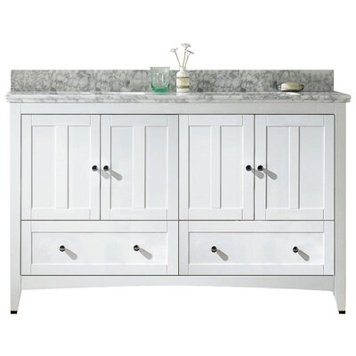 Nixon Floor Mount 59 Single Bathroom Vanity Set Sink Finish: Biscuit, Faucet Mount: 4 Centers, Base Finish: White