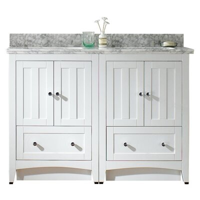 Nixon Floor Mount 47.5 Single Bathroom Rectangular Vanity Set with Ceramic Top Sink Finish: White, Faucet Mount: 8 Centers, Top Finish: Bianca Carara