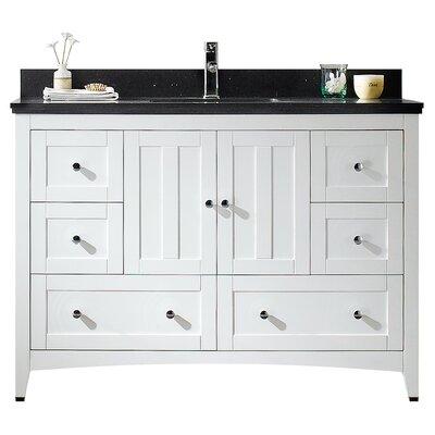 47.5 Single Bathroom Vanity Set Base Finish: White, Top Finish: Black Galaxy, Faucet Mount: Single