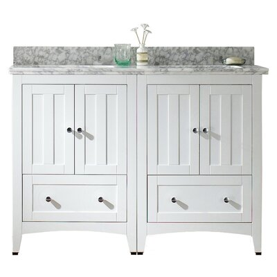 Nixon Floor Mount 47.5 Double Bathroom Vanity Set Top Finish: Bianca Carara, Sink Finish: Biscuit, Faucet Mount: 4 Centers