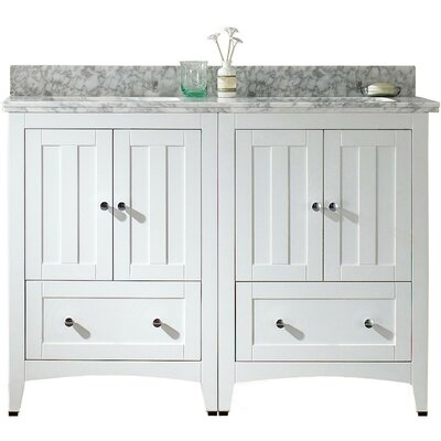 Nixon Floor Mount 47.5 Single Bathroom Plywood-Veneer Vanity Set with Ceramic Top Sink Finish: White, Faucet Mount: 4 Centers, Top Finish: Bianca Carara