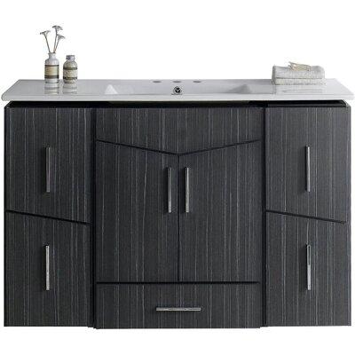 Kapp Modern Wall Mount 48 Single Bathroom Vanity Set Faucet Mount: 4 Centers