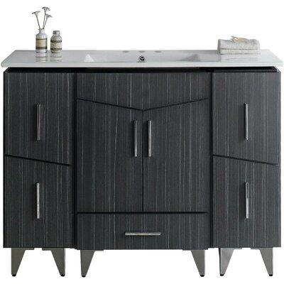 Kapp Modern Floor Mount 48 Single Bathroom Vanity Set Faucet Mount: 4 Centers