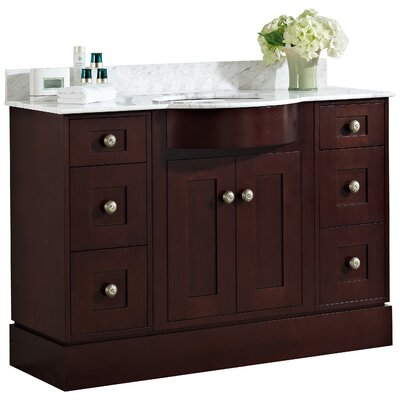 Kimbrough Floor Mount 48 Single Bathroom Vanity Set Top Finish: Beige, Sink Finish: White, Faucet Mount: 8 Centers