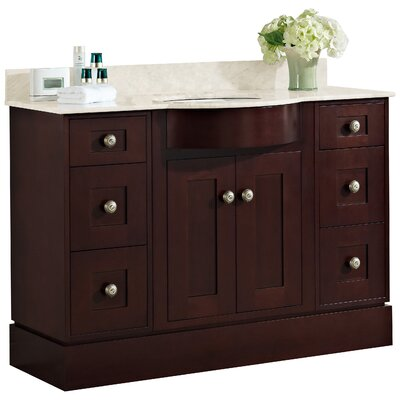 Kimbrough Floor Mount 48 Single Bathroom Vanity Set Top Finish: Beige, Sink Finish: Biscuit, Faucet Mount: 8 Centers