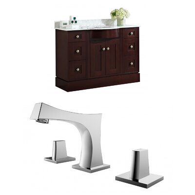 Kester 48 Multi-layer Stain Single Bathroom Vanity Set with Stone Top Sink Finish: White