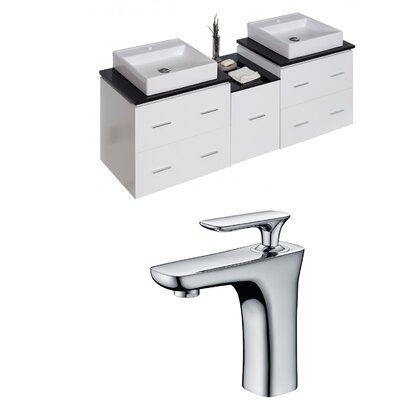 Kyra 62 Rectangle Double Bathroom Vanity Set with 5 Drawer
