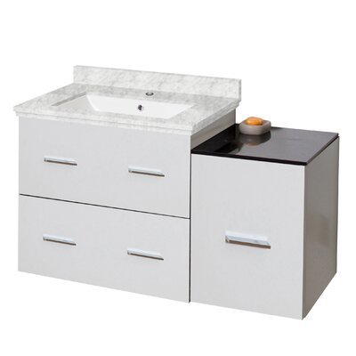Phoebe Drilling Wall Mount 38 Single Bathroom Vanity Set with Drawers Base Finish: White, Top Finish: Bianca Carara, Sink Finish: White
