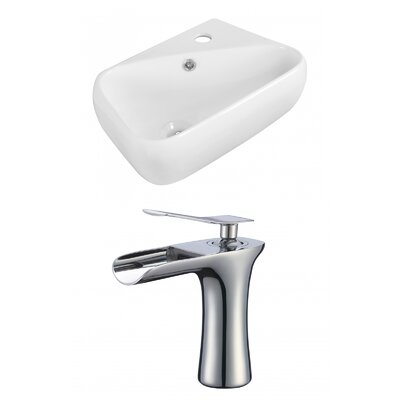 Ceramic Rectangular Vessel Bathroom Sink with Faucet and Overflow Faucet Mount: 8 Center
