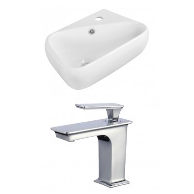 Rectangular 6 Wall Mount Bathroom Sink with Overflow Faucet Mount: 8 Center
