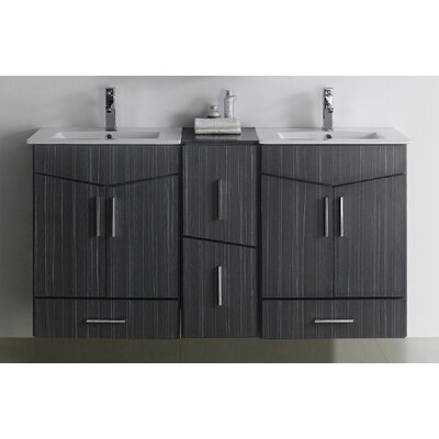 Zen 60 Double Bathroom Vanity Set Faucet Mount: SIngle