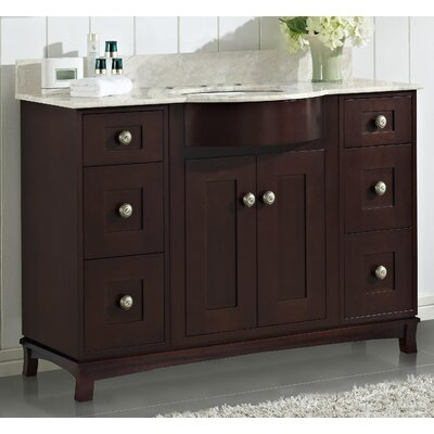 Kester Transitional 48 Single Bathroom Vanity Set with Stone Top Faucet Mount: 8 Center