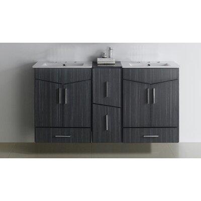 Emerson 60 Double Bathroom Vanity Set Faucet Mount: 8 Center