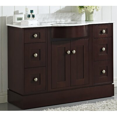 Kester Transitional 48 Multi-layer Stain Wood Single Bathroom Vanity Set Faucet Mount: SIngle