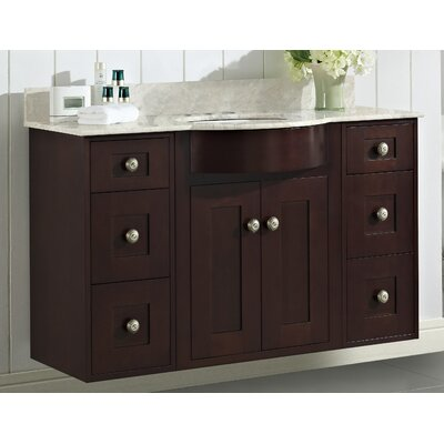 Kester Transitional 48 Rectangle Wood Single Bathroom Vanity Set Faucet Mount: 4 Center