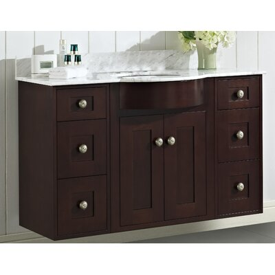 Kester Transitional 48 Rectangle Single Bathroom Vanity Set with Stone Top Faucet Mount: 4 Center