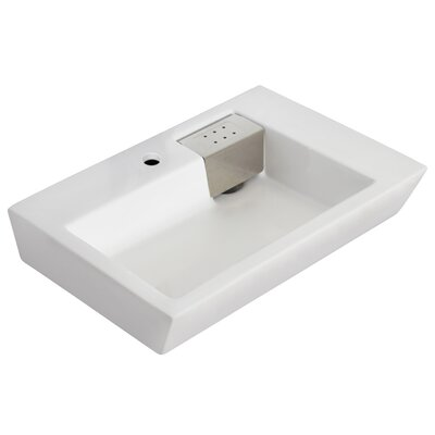Ceramic 26 Wall Mount Bathroom Sink with Overflow