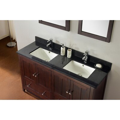 59.5 Double Bathroom Vanity Set Base Finish: Walnut, Top Finish: Black Galaxy, Faucet Mount: 4 Center