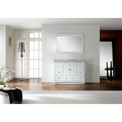 47.5 Single Bathroom Vanity Set Base Finish: White, Top Finish: Black Galaxy, Faucet Mount: 8 Center