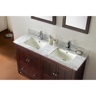 59.5 Double Bathroom Vanity Set Base Finish: Walnut, Top Finish: Bianca Carara, Faucet Mount: 4 Center