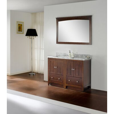 47.5 Double Bathroom Vanity Set Faucet Mount: 4 Center, Base Finish: White, Top Finish: Black Galaxy