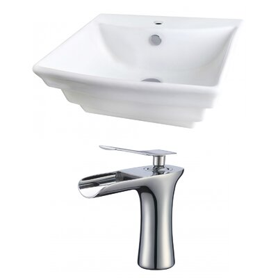 Rectangular 20 Wall Mount Bathroom Sink with Overflow