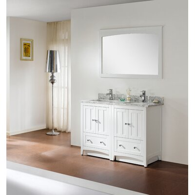 47.5 Double Bathroom Vanity Set Top Finish: Bianca Carara, Faucet Mount: 4 Center, Base Finish: White