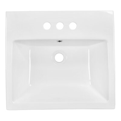 Ceramic Rectangular Vessel Bathroom Sink with Overflow Faucet Mount: 4 Center