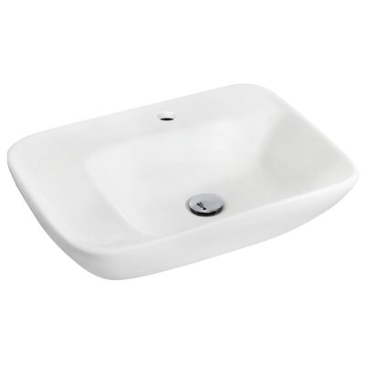 Ceramic 24 Wall Mount Bathroom Sink with Overflow