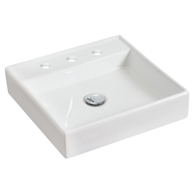 Above Counter Square Vessel Bathroom Sink with Overflow