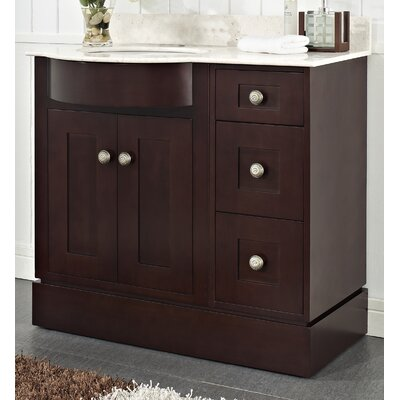 Kester 36 Rectangle Wood Single Bathroom Vanity Set Top Finish: Biscuit, Faucet Mount: 4 Center
