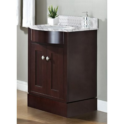 Kester Transitional 24 Rectangle Single Bathroom Vanity Set Sink Finish: Biscuit, Faucet Mount: Single