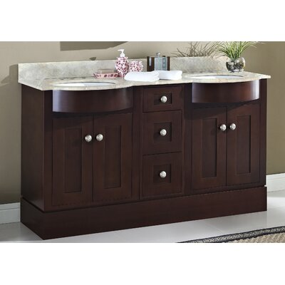 Tiffany 60 Double Bathroom Vanity Set Sink Finish: Biscuit, Faucet Mount: 8 Center