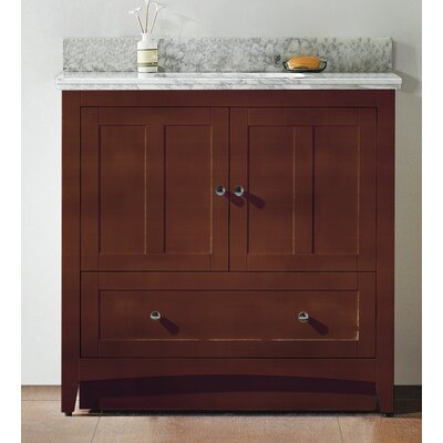 35.5 Single Bathroom Vanity Set Base Finish: Walnut, Top Finish: Black Galaxy, Faucet Mount: 8 Center