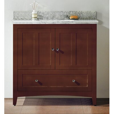 35.5 Single Bathroom Vanity Set Base Finish: Walnut, Top Finish: Bianca Carara, Faucet Mount: 4 Center