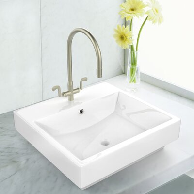 Rectangular Vessel Bathroom Sink with Overflow Faucet Mount: Single