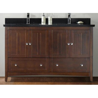 59.5 Double Bathroom Vanity Set Top Finish: Bianca Carara, Faucet Mount: Single, Base Finish: Walnut