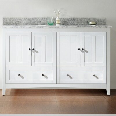 59.5 Double Bathroom Vanity Set Base Finish: White, Top Finish: Bianca Carara, Faucet Mount: 8 Center