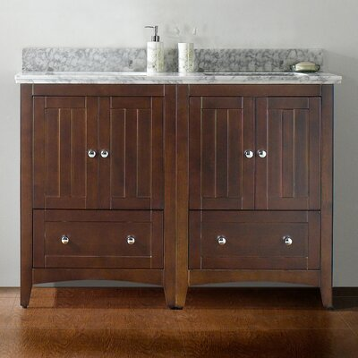 47.5 Double Bathroom Vanity Set Base Finish: Walnut, Top Finish: Bianca Carara, Faucet Mount: 8 Center