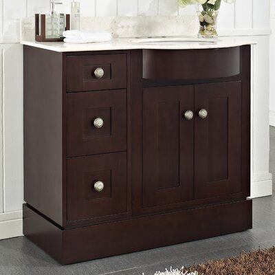 Kester 36 Wood Bathroom Vanity Top Finish: White, Faucet Mount: 4 Center