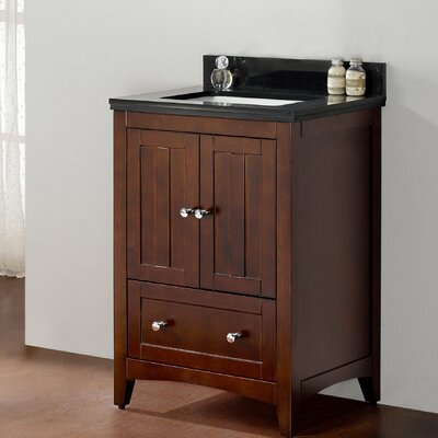 23.5 Single Bathroom Vanity Set Top Finish: Black Galaxy, Faucet Mount: 8 Center