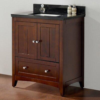 29.5 Single Bathroom Vanity Set Top Finish: Black Galaxy, Faucet Mount: 8 Center, Base Finish: Walnut