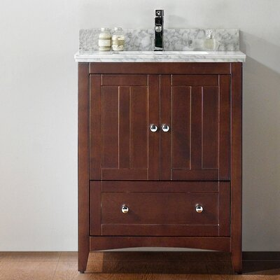 29.5 Single Bathroom Vanity Set Base Finish: Walnut, Top Finish: Bianca Carara, Faucet Mount: Single