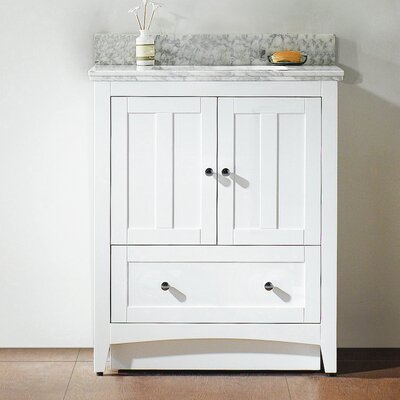 Shaker 29.5 Bathroom Vanity Base Finish: White, Faucet Mount: 4 Center, Top Finish: Bianca Carara