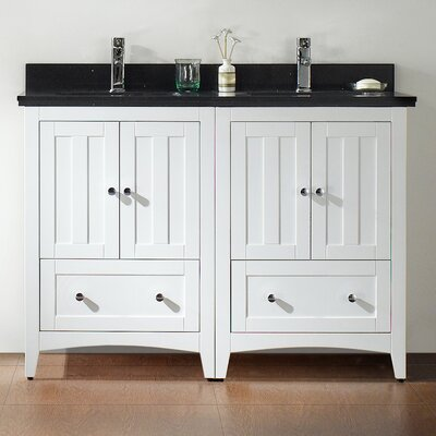 47.5 Double Bathroom Vanity Set Base Finish: White, Top Finish: Black Galaxy, Faucet Mount: Single