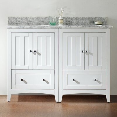 47.5 Double Bathroom Vanity Set Base Finish: White, Top Finish: Bianca Carara, Faucet Mount: 8 Center
