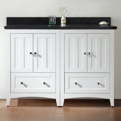 47.5 Double Bathroom Vanity Set Base Finish: White, Top Finish: Black Galaxy, Faucet Mount: 4 Center